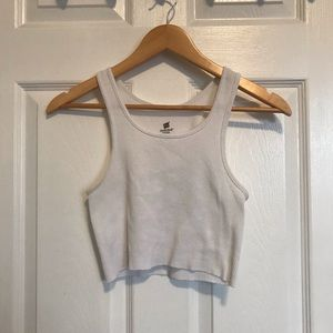 Tops - VINTAGE White Ribbed Cropped Tank